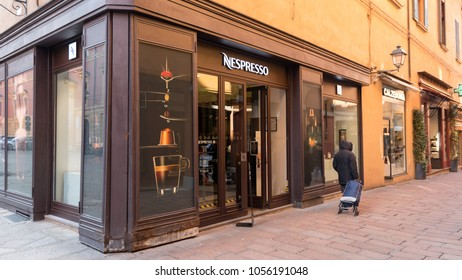 BOLOGNA, ITALY - CIRCA MARCH, 2018: Nespresso shop in the city center. Nespresso is the brand name of Nestlé Nespresso S.A., an operating unit of the Nestlé Group, based in Lausanne, Switzerland.
