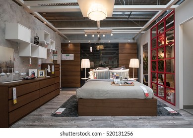 BOLOGNA, ITALY - CIRCA NOVEMBER, 2016: Interior view of bedroom inside IKEA store. IKEA is the world's largest furniture retailer.