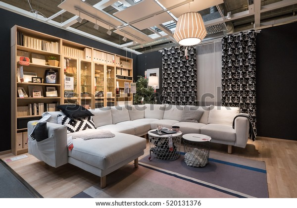 BOLOGNA, ITALY - CIRCA NOVEMBER, 2016: Interior view of dining room inside IKEA store. IKEA is the world's largest furniture retailer.