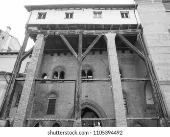BOLOGNA, ITALY - CIRCA SEPTEMBER 2017: Porches in the old city centre in black and white