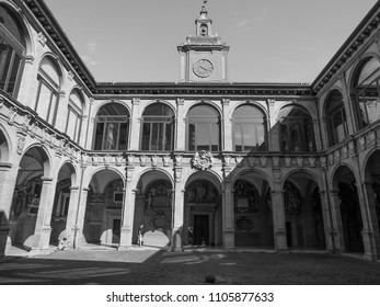 BOLOGNA, ITALY - CIRCA SEPTEMBER 2017: Archiginnasio palace seat of the first city university and now library in black and white