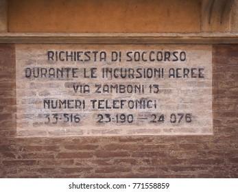 BOLOGNA, ITALY - CIRCA SEPTEMBER 2017: WW2 wartime sign, Richiesta di soccorso durante le incursioni aeree (meaning Rescue request during air raids)