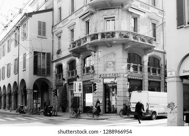 Bologna, Italy - December 05 2018: High Contrast Black and White Travel Picture from the Mediterranean Town Bologna in Europe