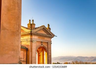 BOLOGNA, ITALY - DECEMBER 15, 2018: sunlight is enlightening the Sanctuary of the Blessed Virgin of Saint Luke