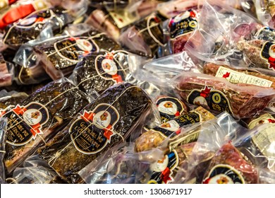 BOLOGNA, ITALY - DECEMBER 16, 2018: ANTICA ARDENGA MASSIMO PEZZANI is selling pig cheeks for Amatriciana sauce at FICO Eataly World, the largest gourmet agri-food park in the world