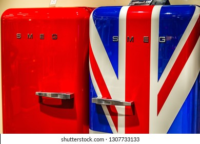 BOLOGNA, ITALY - DECEMBER 16, 2018: SMEG is selling fridges at FICO Eataly World, the largest gourmet agri-food park in the world