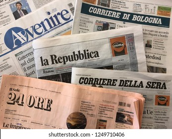 BOLOGNA, ITALY - DECEMBER, 2018: Famous Italian newspapers background. Illustrative editorial.