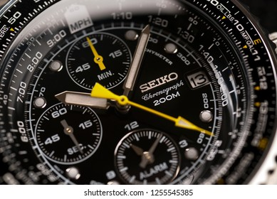 BOLOGNA, ITALY - DECEMBER, 2018: Seiko Chronograph watch. Seiko is a Japanese company manufacturing watch products, precision instruments and mechanics. Illustrative editorial.