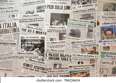 Bologna, Italy - december 25, 2017: the most important Italian newspapers and the titles that made history.