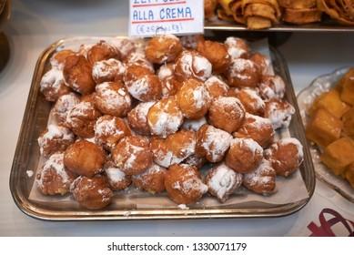 Bologna, Italy - February 02, 2019 : Zeppole, italian carnival sweet