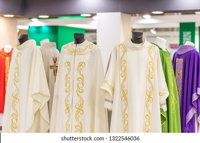 BOLOGNA, ITALY - FEBRUARY 18, 2019: lights are enlightening holy vestments at stand of ARPAS in DEVOTIO Religious products and service exhibition