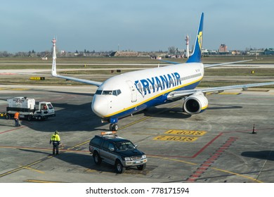BOLOGNA, ITALY - FEBRUARY 2016: Ryanair jetliner arriving at the Bologna airport, Italy. Ryanair Ltd. is an Irish low-cost airline headquartered in Swords, Dublin, Ireland.