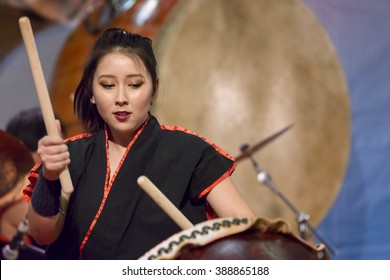 BOLOGNA, ITALY - FEBRUARY 27 2016 - Editorial: at the fair Festival of the East in Bologna, the spectacle of Masa Daiko group, players of ancient Japanese drums