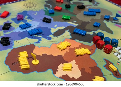 BOLOGNA, ITALY - JANUARY 2018: RisiKo! is a strategy board game, Italian stand alone variant of Risk (it derives from the 1957 French game La Conquête du Monde).