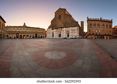 BOLOGNA, ITALY - JANUARY 29, 2016: San Petronio Basilica in Bologna, Italy. With its volume of 258,000 m3, it is the largest church built in bricks of the world.