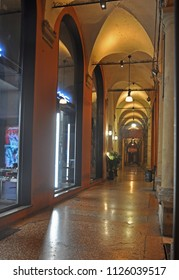 BOLOGNA, ITALY – JULY 13, 2017:  night view of the Pavaglione portico. The place is very  famous in the city.