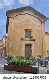 BOLOGNA, ITALY – JULY 13, 2017: antique San Donato church. This is part of the medieval side of the city.