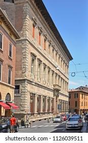 BOLOGNA, ITALY – JULY 14, 2017:  Palazzo Bentivoglio in Belle Arti street. The new Bentioglio building built in 1551.