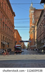 BOLOGNA, ITALY – JULY 14, 2017:  locals and tourists in Indipendenza street. One of the city typical street.