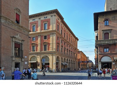 BOLOGNA, ITALY – JULY 14, 2017: Rizzoli  and Indipendenza street crossing. This is the real city center.