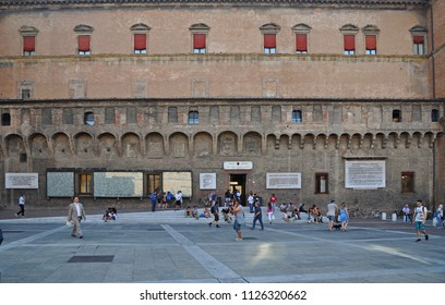 BOLOGNA, ITALY – JULY 14, 2017:  the government building Palazzo D'Accursio view from Neptune square. This is the real city center.