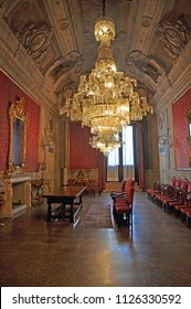 BOLOGNA, ITALY – JULY 14, 2017: Maurizio Cevenini Red Room. The room is inside Accursio Palace, the city of Bologna government building.