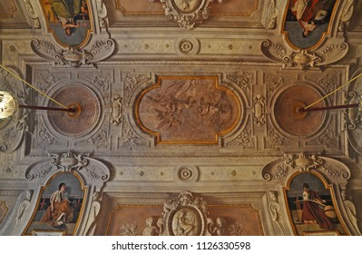 BOLOGNA, ITALY – JULY 14, 2017: Maurizio Cevenini Red Room ceiling. The room is inside Accursio Palace, the city of Bologna government building.