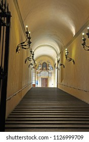 BOLOGNA, ITALY – JULY 14, 2017: entrance to Accursio Palace. From 1336 is the place  of Bologna government.