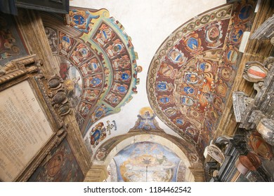Bologna, Italy - July 15, 2017: Archiginnasio of Bologna, library of the oldest University in the world. The Coats of Arms belong to elected members of the student council