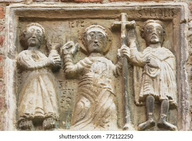 BOLOGNA, ITALY - JULY 15, 2017: Detail Stone Carving of Saint Vitale and Agricola in the basilica of Santo Stefano, Bologna, Italy.