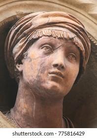 BOLOGNA, ITALY - JULY 15, 2017: Bust at the Palazzo Bolognini Amorini Salina, a Renaissance architecture palace located on Piazza Santo Stefano in Bologna, Italy.