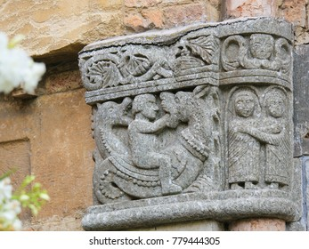 BOLOGNA, ITALY - JULY 15, 2017: Detail Stone Carving at the Church of Saint Vitale and Agricola in the basilica of Santo Stefano, Bologna, Italy.