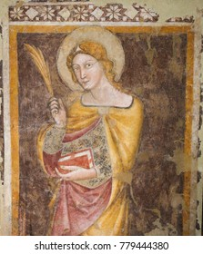 BOLOGNA, ITALY - JULY 15, 2017: Fresco in the Martyrium of the Basilica of Santo Stefano in Bologna, Emilia Romagna, Italy.