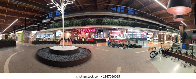 BOLOGNA, ITALY - JULY, 2018: Tree light inside Fico Eataly World, located in Bologna, is the largest agrofood park in the world. Internal view. Panoramic view.