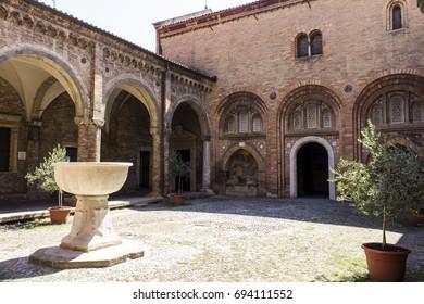 BOLOGNA, ITALY - JULY 23, 2017: courtyard inside the Basilica of Santo Stefano (seven Churches) - Emilia Romagna