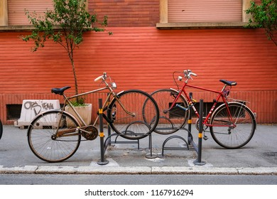 Bologna, Italy - July, 30, 2018: bicycles on a parking in a center of Bologna