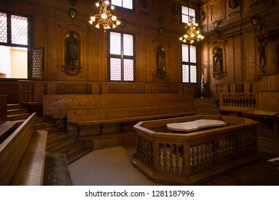 Bologna, Italy - July 9 2017: The Archiginnasio of Bologna, which houses Teatro Anatomico and Archiginnasio Municipal Library