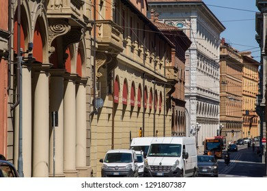 Bologna, Italy - July 9 2017: The street view of this historic City.