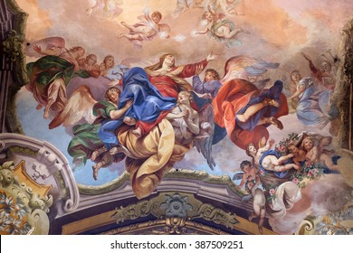 BOLOGNA, ITALY - JUNE 04: Assumption of the Virgin Mary, fresco painting in San Petronio Basilica in Bologna, Italy, on June 04, 2015.