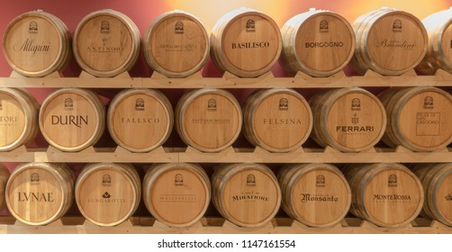 BOLOGNA, ITALY - JUNE 14, 2018 Wine casks on a shelf