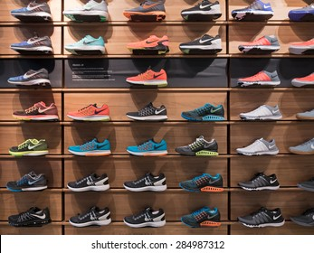 BOLOGNA, ITALY - JUNE 3, 2014: Exposition of nike sport shoes. Nike is one of the world's largest suppliers of athletic shoes and apparel. The company was founded on January 25, 1964.