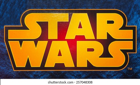 BOLOGNA, ITALY - MARCH 1, 2015: Star Wars logo. Star Wars is an American epic space opera franchise centered on a film series created by George Lucas.