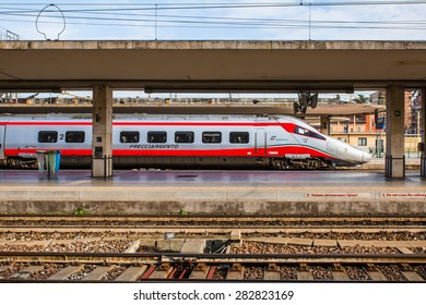 BOLOGNA, ITALY - MARCH 11: High speed train Freccia Rossa connecting main Italy cities, March 11, 2015 in Bologna, Italy