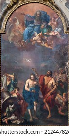 BOLOGNA, ITALY - MARCH 15, 2014: The Baptism of Christ by Ercole Graziani from 17. cent. in Dom - Saint Peters baroque church.