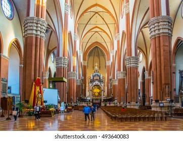 BOLOGNA, ITALY, MARCH 17, 2016: view of interior of the Basilica di San Petronio in the italian city bologna