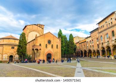 Bologna, Italy, March 17, 2018: Abbazia Santo Stefano abbey, Basilica dei protomartiri San Vitale e Sant'Agricola church on Piazza Santo Stefano square in old historical city centre, Emilia-Romagna