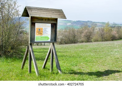 Bologna, Italy, March 20 2016: the entrance sign of Cavaioni Park in the Colli Bolognesi  area, outskirts