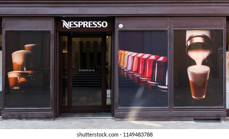BOLOGNA, ITALY - MARCH, 2018: Nespresso shop in the city center. Nespresso is the brand name of Nestlé Nespresso S.A., an operating unit of the Nestlé Group, based in Lausanne, Switzerland.