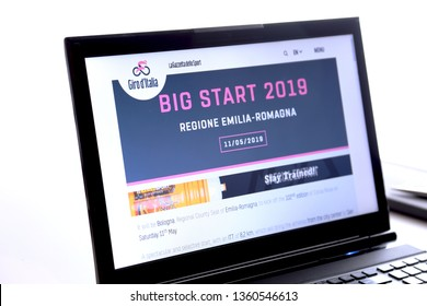 Bologna, Italy - March 26, 2019: Illustrative Editorial Website of Giro d'Italia logo visible on display screen.