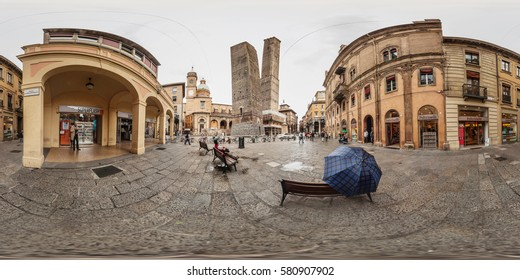 BOLOGNA, ITALY - MAY 10 2013: Full 360 equirectangular spherical panorama view of  falling tower. Virtual reality content